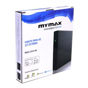 """Gaveta P/ HD 2,5"""" Externa USB 2.0  Preto  Mymax"""
