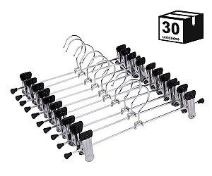 Kit 30 Cabides Com Presilhas Cromado para Calça, Saia ou Bermuda