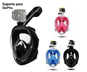 Mascara de Mergulho Snorkel Com Suporte para GoPro Câmera De Ação Free Breath