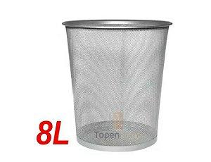 Kit 3 Lixeira Cesto Lixo Redondo Escritório Aço Telado
