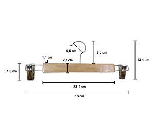 Kit 15 Cabide de Madeira Marfim de Saia de Alta Resistência