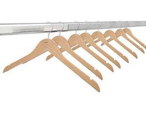 Kit 20 Cabides de Madeira Marfim Com Verniz Sem Barra