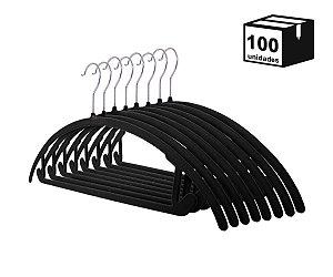 Kit 100 Cabide de Veludo Arco Preto