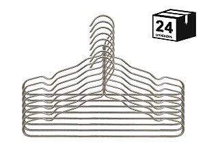Kit 24 Cabide Luxo de alumínio Cor Champagne