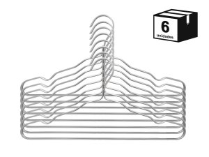 kit 6 Cabide Luxo de alumínio Cor Prata