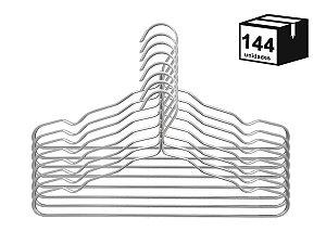 Kit 144 Cabide Luxo de alumínio Cor Prata
