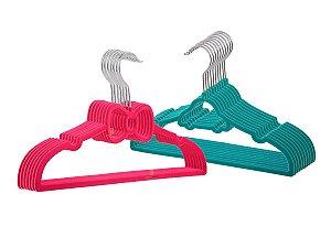 Kit 20 Cabides Laço Pink Infantil + 20 Cabides Carrinho Azul