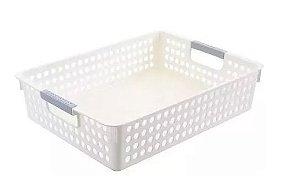 Cestas Organizadores De Plástico Branco 8cm x 35cm x 25cm