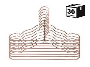 Kit 30 Cabide Luxo de alumínio Cor Rosa