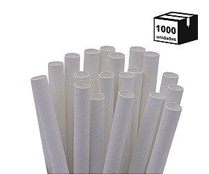1000 Canudos de Papel Biodegradável 10mm Branca