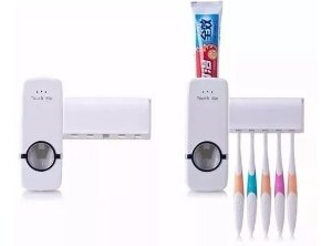Kit 3 Dispenser Automático Pasta  Dente + Suporte Escovas