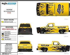 Pré venda -2022 Maisto Vegas Super Convention 1987 Chevy Outlaw Truck - Junho 2022 - Leia descrição