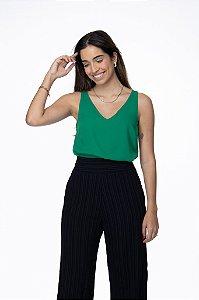 Blusa Alice Decote V Verde Bandeira