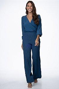 Calça Pantalona Bianca Azul Petróleo