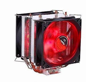 Cooler para Processador Dex AMD Intel TDP 130W Dx-9100 2 Fans Led Vermelho