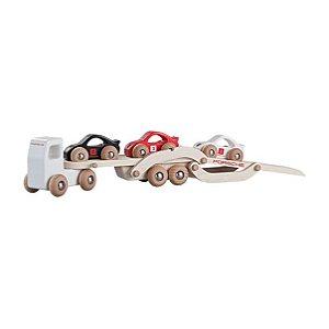 Caminhão em madeira, incluindo 3 carros de corrida