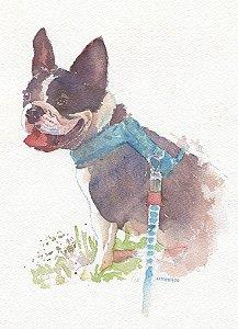Retrato em aquarela sob encomenda A4 - Pessoas e animais de estimação
