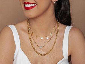Mix de colares com pérola barroca - Dourado