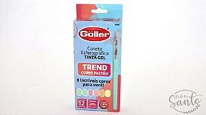 Caneta Esferografica Gel Trend Colors com 12 Pecas na Caixa
