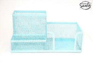Porta objetos metálico - Cor azul