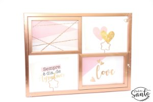 Porta Retrato/Quadro Decorativo - Rose Gold