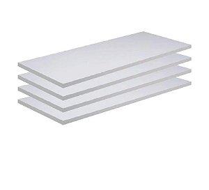 Kit 4 Prateleira Mdf Branco COM Suporte Invisível L=65 P=20 Branco TX