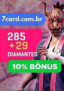 CARTÃO FREE FIRE 285 DIAMANTES + 29 DE BÔNUS