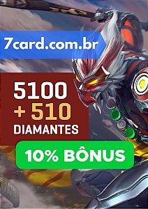 CARTÃO FREE FIRE 5100 DIAMANTES + 510 DE BÔNUS