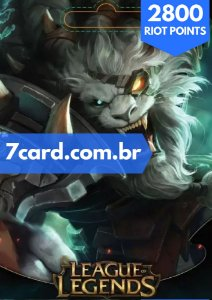 CARTÃO LEAGUE OF LEGENDS 2800 RIOT POINTS