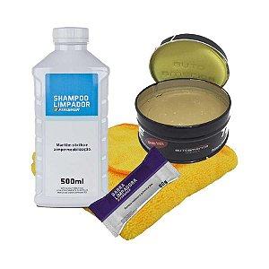 Kit Limpeza Com Shampoo - Cera - Descontaminadora e Microfibra