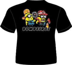 Camiseta Infantil Minios Bombeiro-Preta