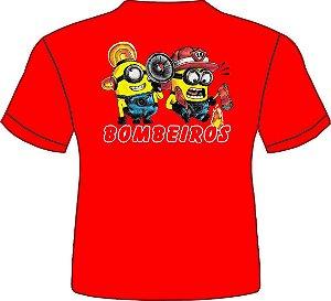 Camiseta Infantil Minios Bombeiro-Vermelha