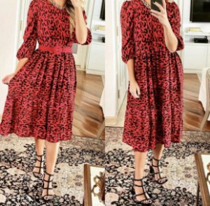 VESTIDO ANIMAL PRINT RED