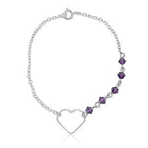 Pulseira Coração Purple