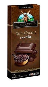 CHOCO HOLLANDER 80% CACAU COM NIBS 90G - UNIDADE