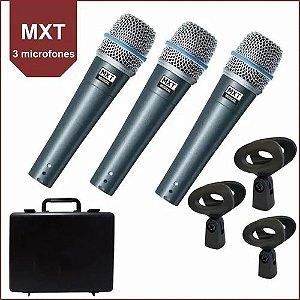 KIT 3 MICROFONES PRO BTM-57A C/MALETA MXT