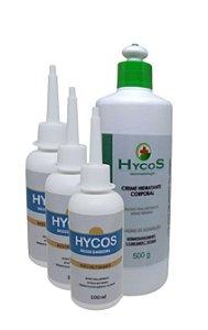 KIT3 Cremes Reestruturante Hycos 100ml + (Brinde) 1 Loção Hidratante Corporal 24h Hycos 500g