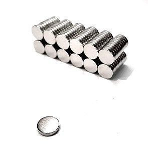 Ímã Neodímio N35 Pastilha 10x2 mm - 50 UNIDADES