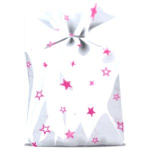 Saco Decorado Estrelas Rosa Plastico PP - Medidas Variadas