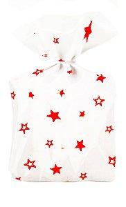 Saco Decorado Estrelas Vermelho Plastico PP - Medidas Variadas