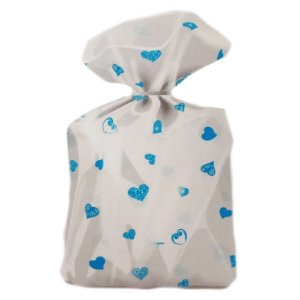 Saco Decorado Coração Azul Claro Plastico PP - Medidas Variadas