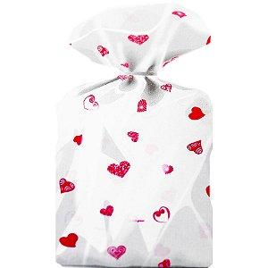 Saco Decorado Coração Pink Plastico PP - Medidas Variadas