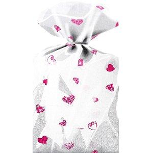 Saco Decorado Coração Rosa Plastico PP - Medidas Variadas