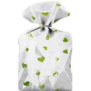 Saco Decorado Coração Verde Limão Plastico PP - Medidas Variadas