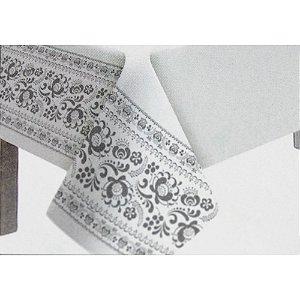 Toalha de Mesa Plástico Borda Decorada Prata - 10 un - Medidas Variadas