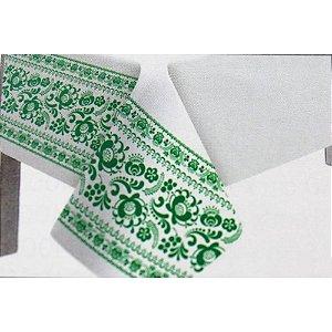 Toalha de Mesa Plástico Borda Decorada Verde Escuro - 10 un - Medidas Variadas