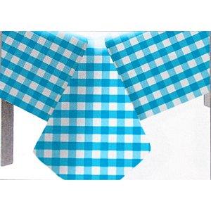 Toalha de Mesa Plástico Xadrez Azul Claro - 10 unidades - Medidas Variadas