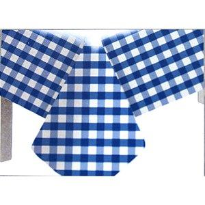 Toalha de Mesa Plástico Xadrez Azul Escuro - 10 unidades - Medidas Variadas