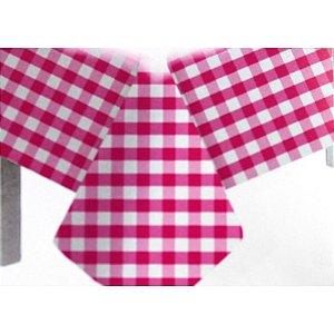 Toalha de Mesa Plástico Xadrez Pink - 10 unidades - Medidas Variadas