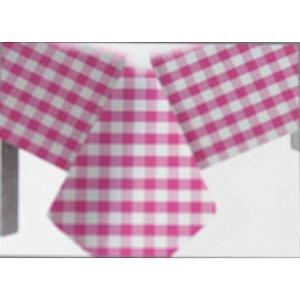 Toalha de Mesa Plástico Xadrez Rosa - 10 unidades